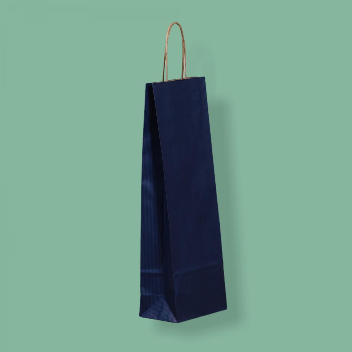 Sodrottfüles papírtáska 14x39x8 cm bordázott kék ITALTASAK A.