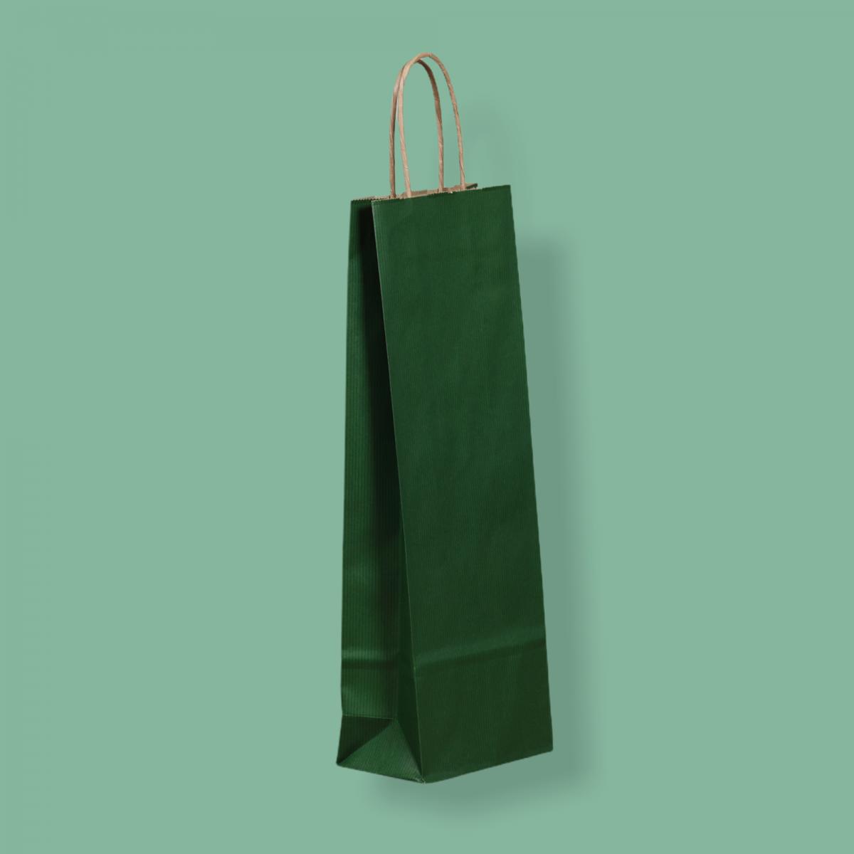 Sodrottfüles papírtáska 14x39x8 cm bordázott sötétzöld ITALTASAK A.