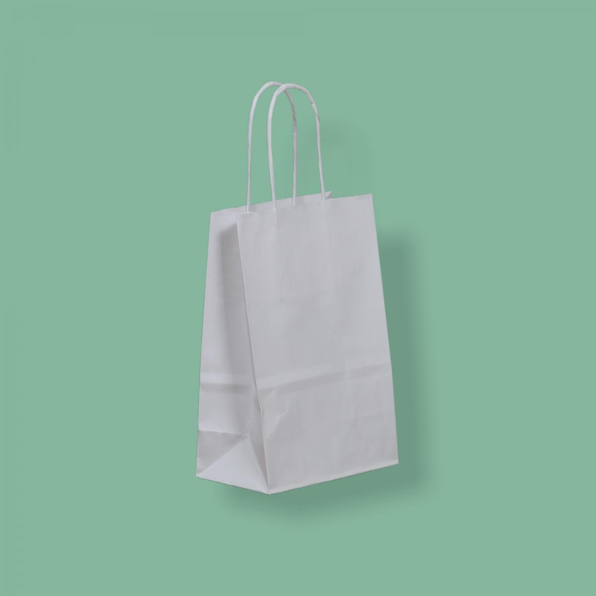 Sodrottfüles papírtáska 14x21+8 cm fehér
