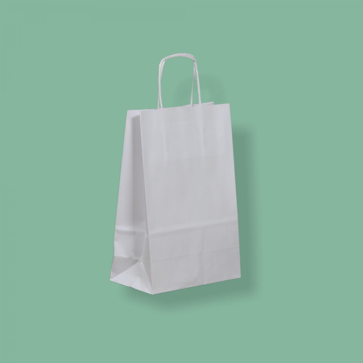 Sodrottfüles papírtáska 18x22+8 cm fehér