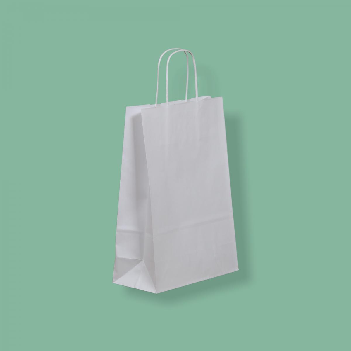 Sodrottfüles papírtáska 22x31+10 cm fehér