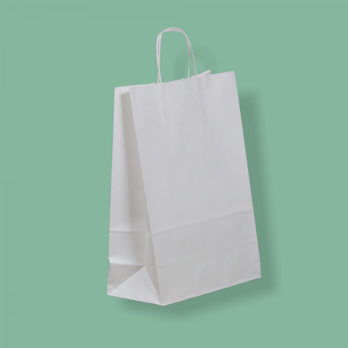 Sodrottfüles papírtáska 26x35+12 cm fehér