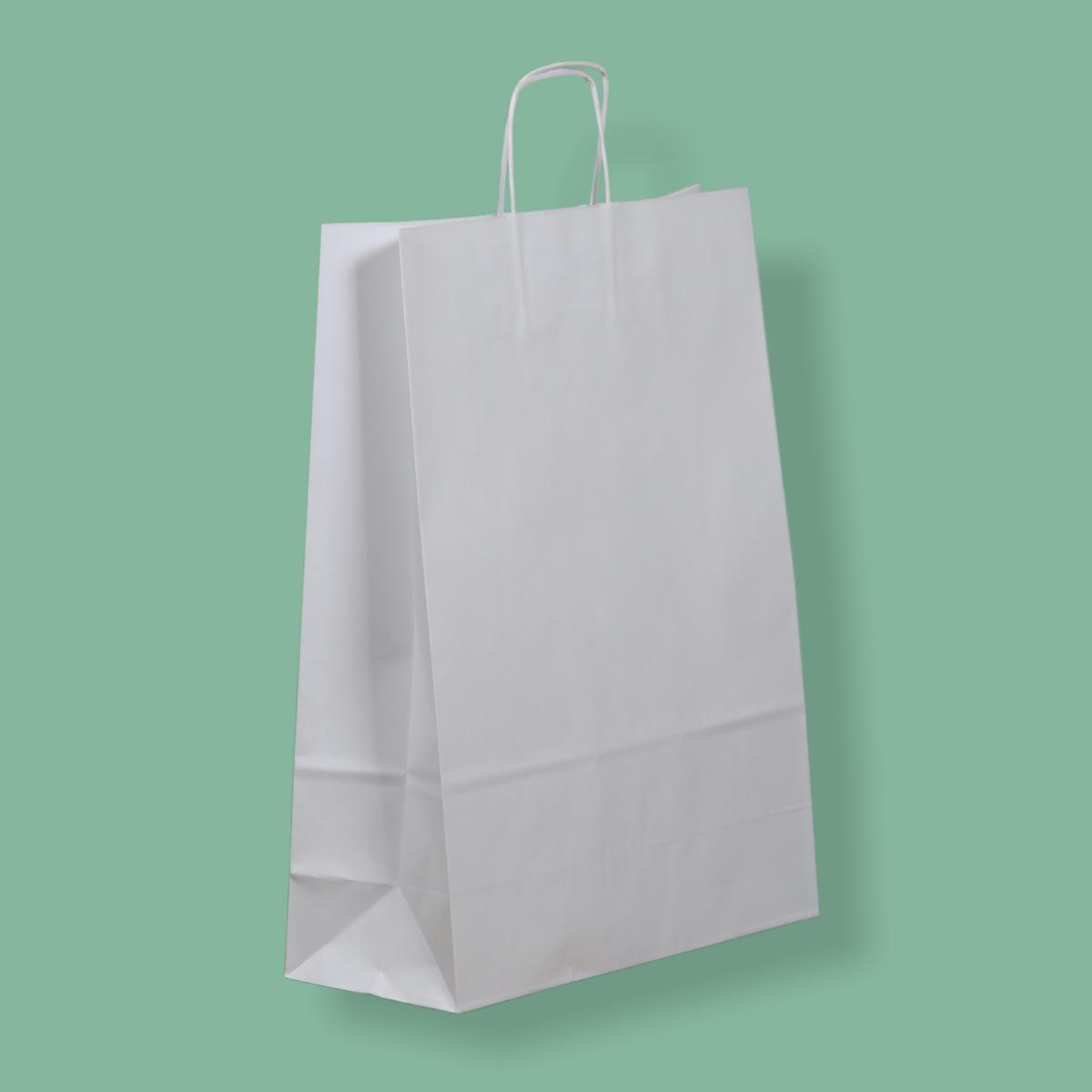 Sodrottfüles papírtáska 32x41+12 cm fehér