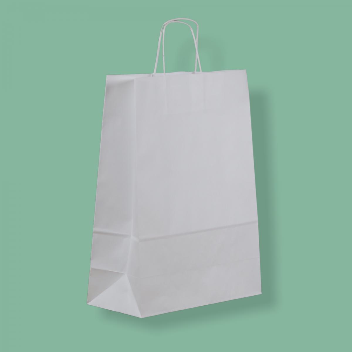 Sodrottfüles papírtáska 32x42+14 cm fehér