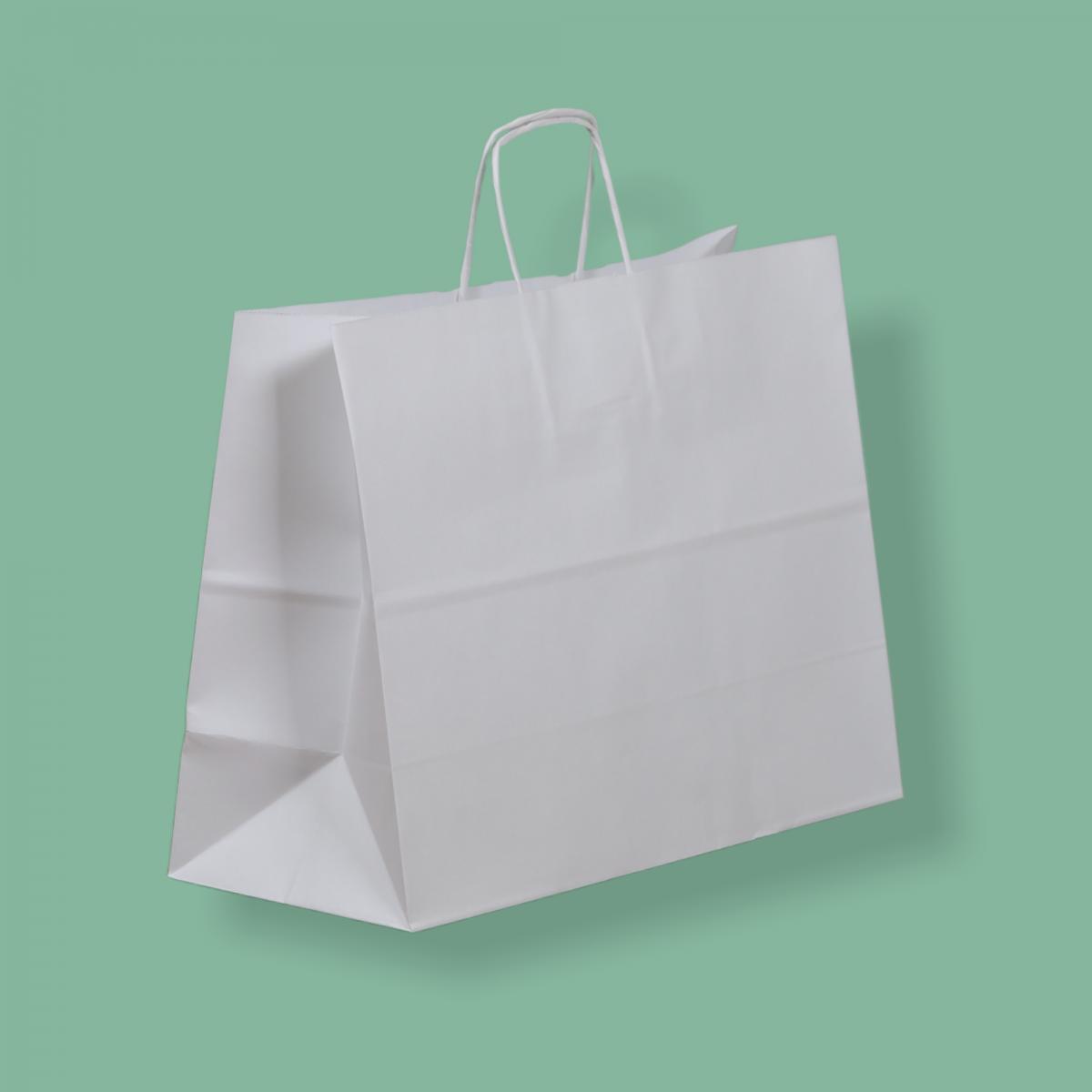 Sodrottfüles papírtáska 35x26+14 cm fehér