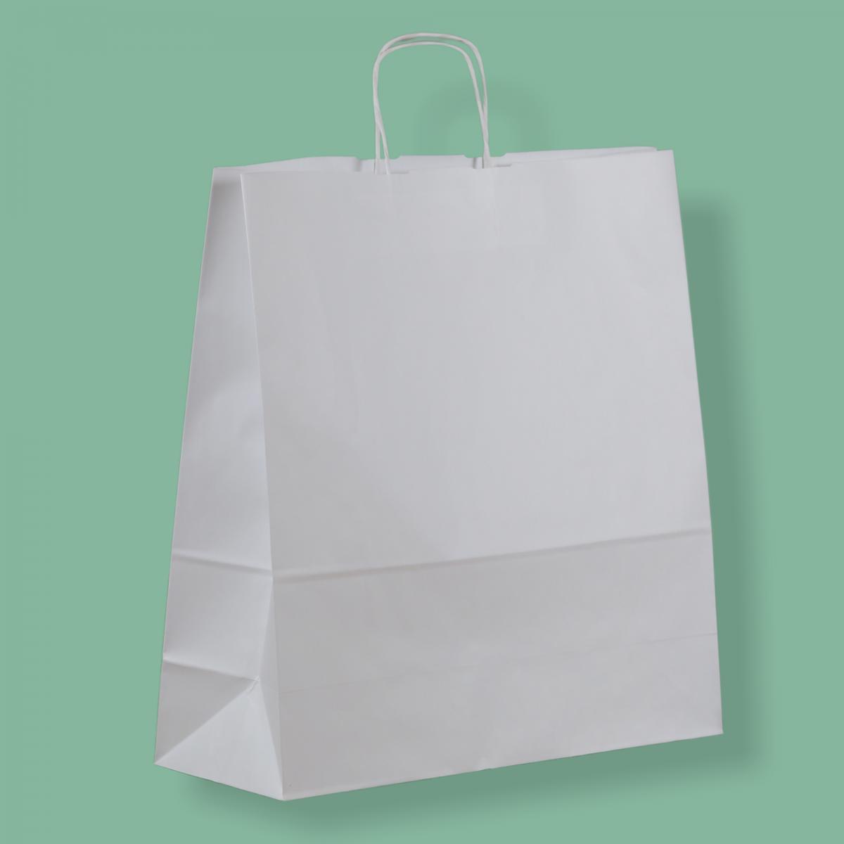 Sodrottfüles papírtáska 45x48+17 cm fehér