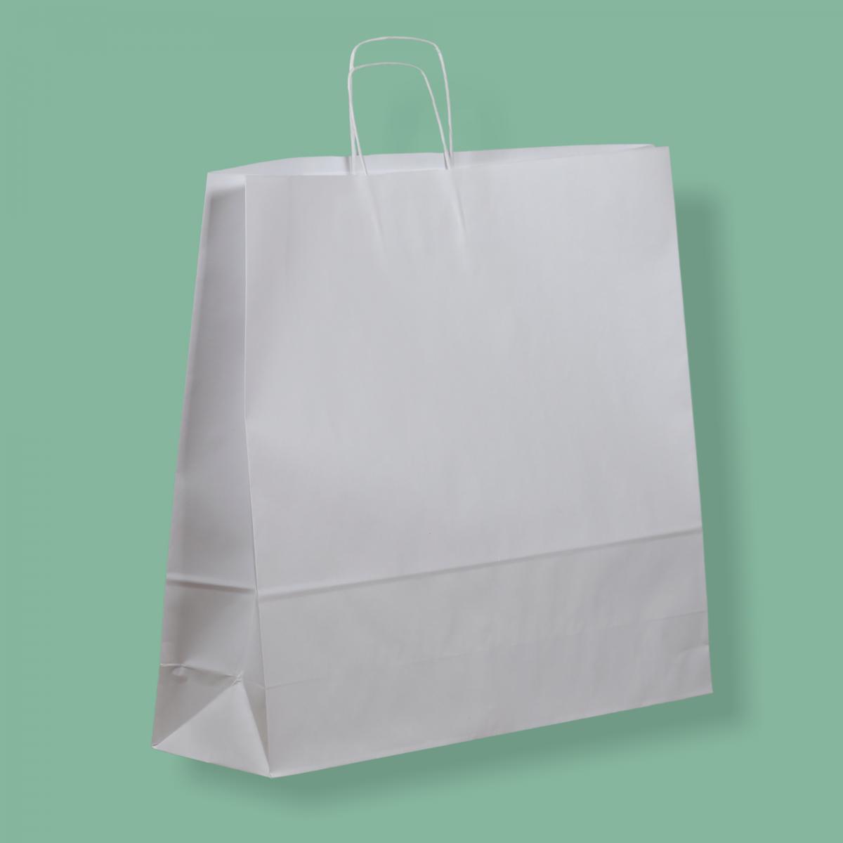 Sodrottfüles papírtáska 54x49+15 cm fehér