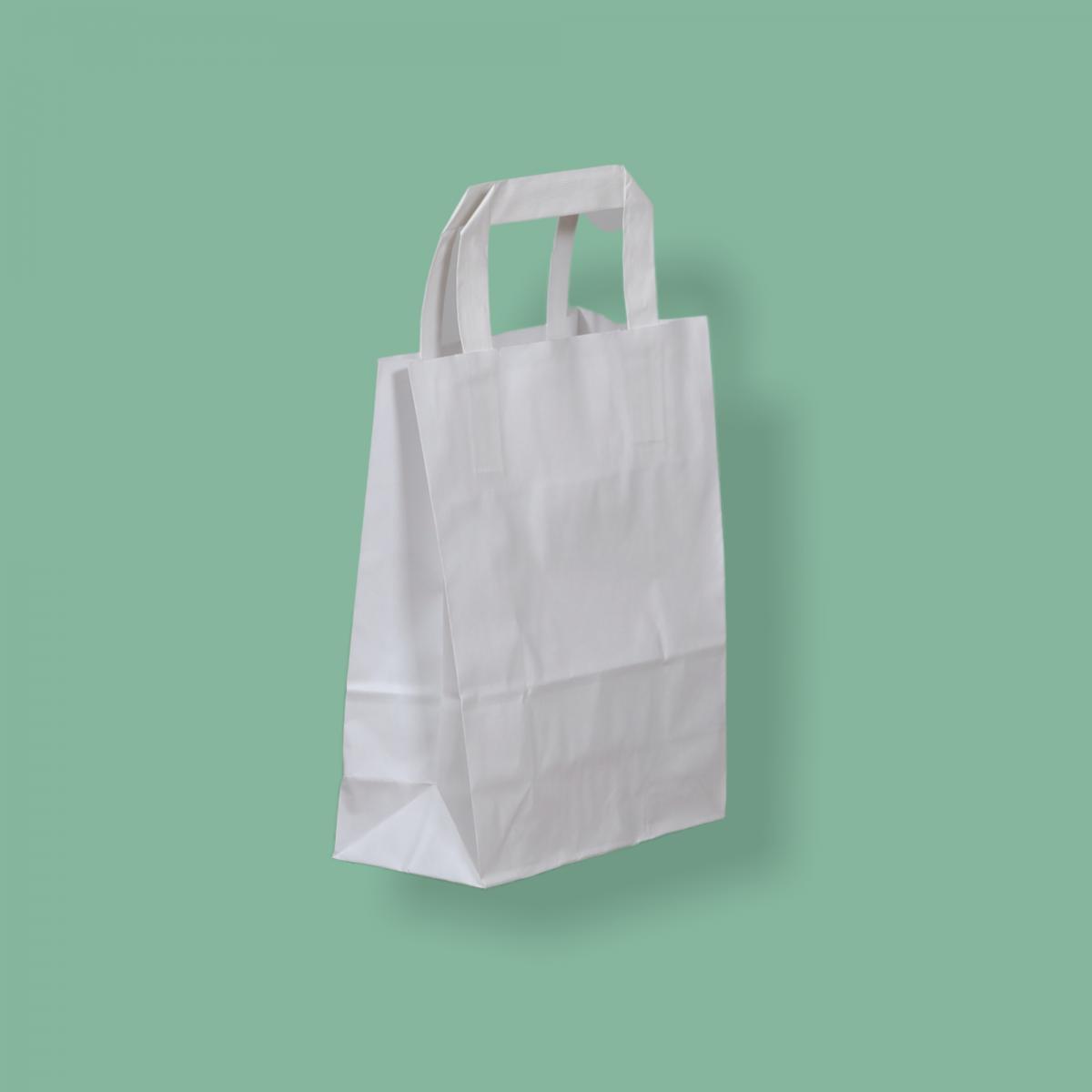 Szalagfüles papírtáska 18x22+8 cm fehér