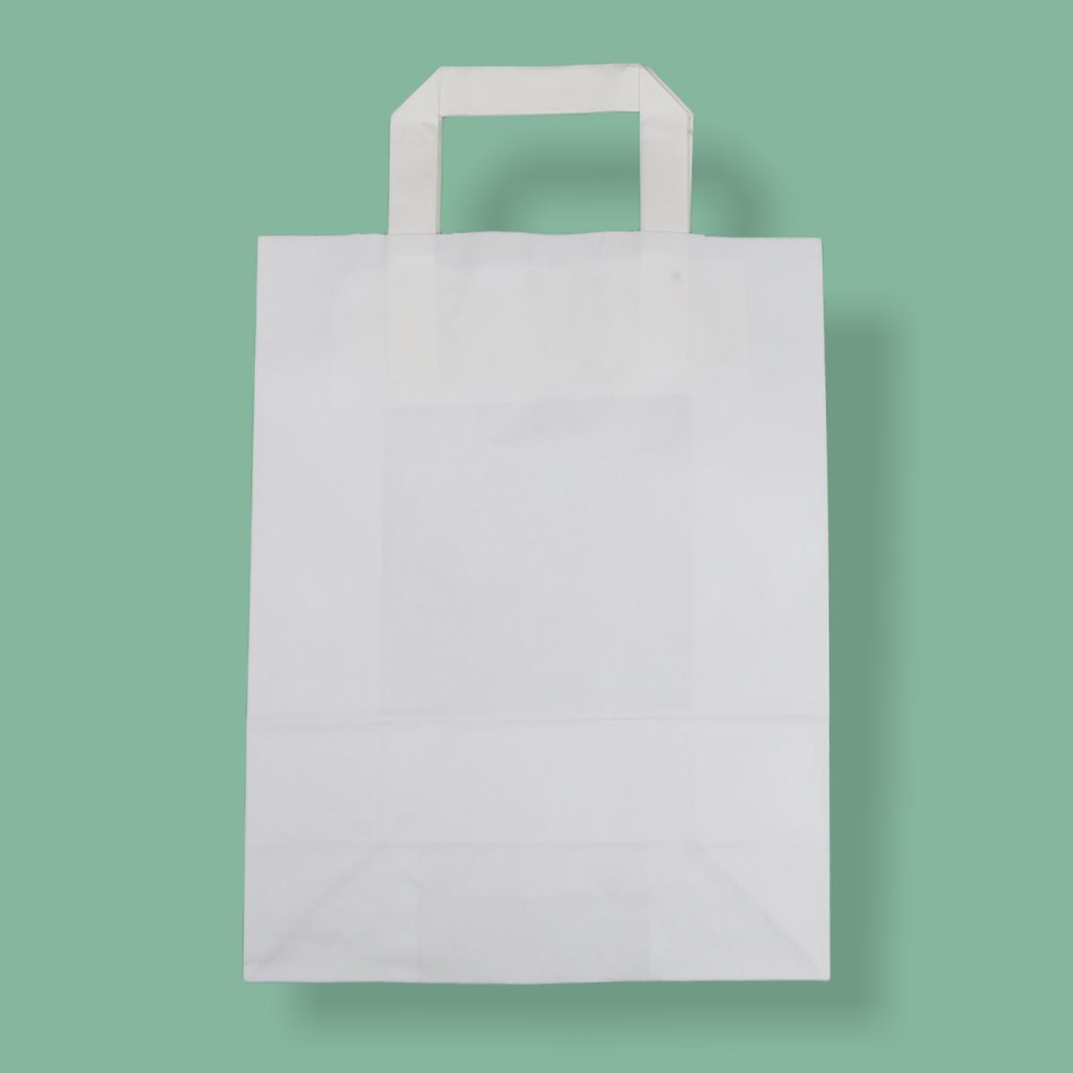 Szalagfüles papírtáska 22x28+10 cm fehér
