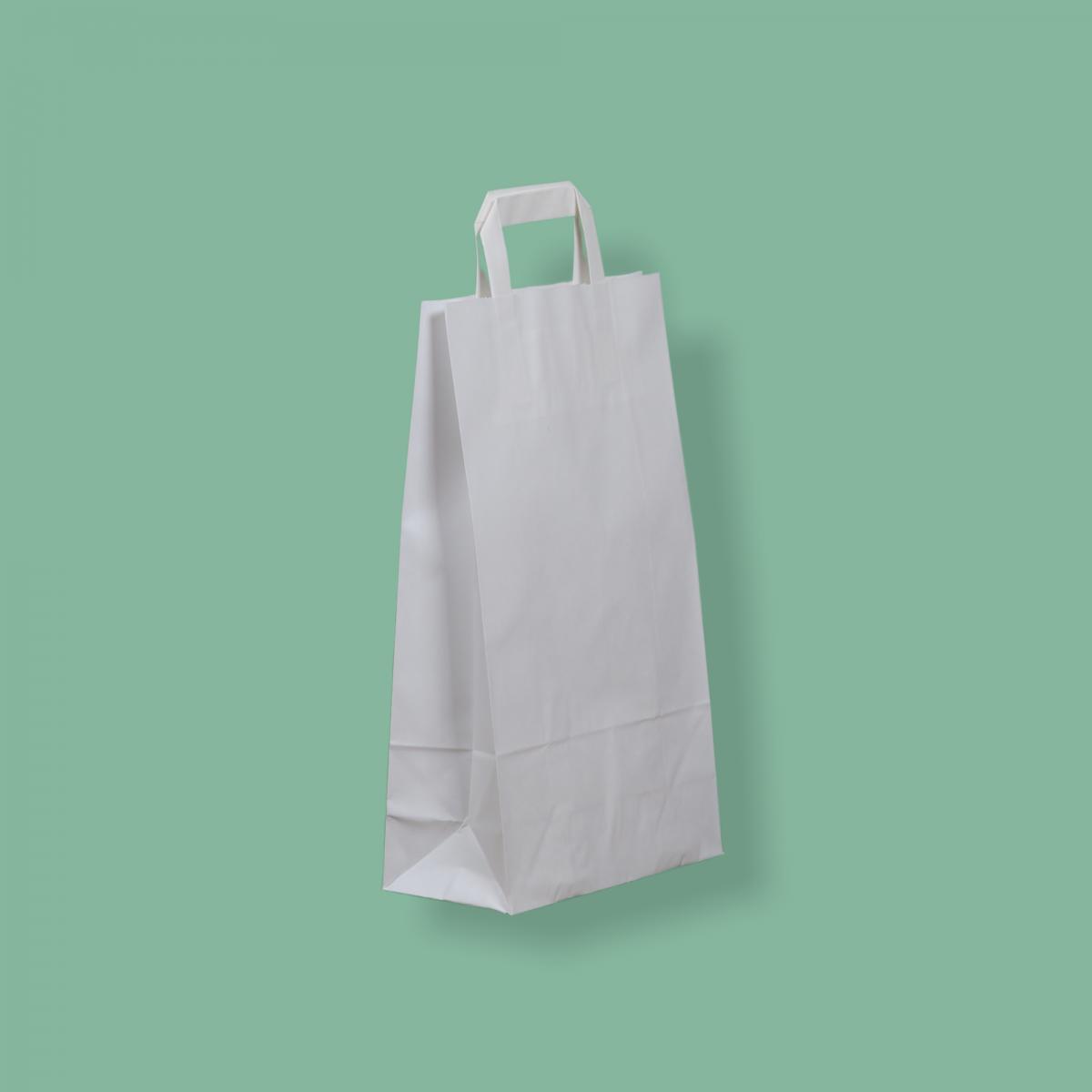 Szalagfüles papírtáska 22x36+10 cm fehér