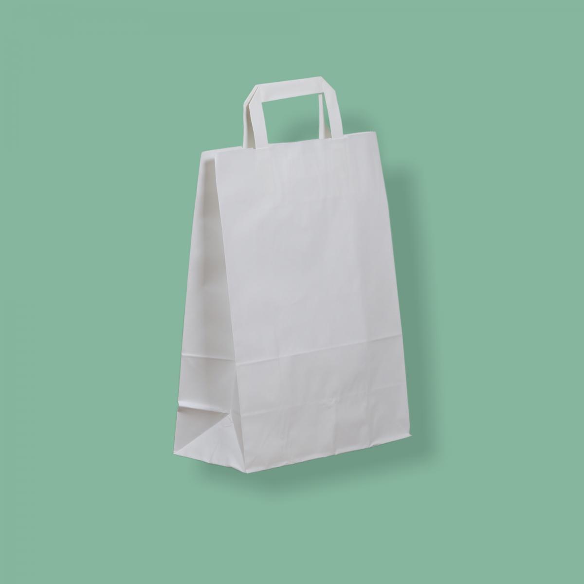 Szalagfüles papírtáska 26x35+12 cm fehér