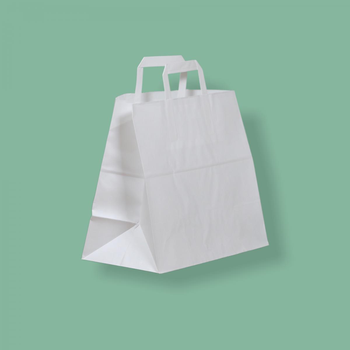 Szalagfüles papírtáska 32x27+17 cm fehér