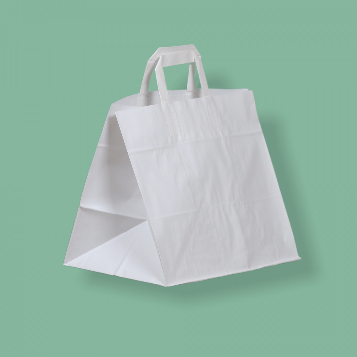 Szalagfüles papírtáska 32x27+21 cm fehér