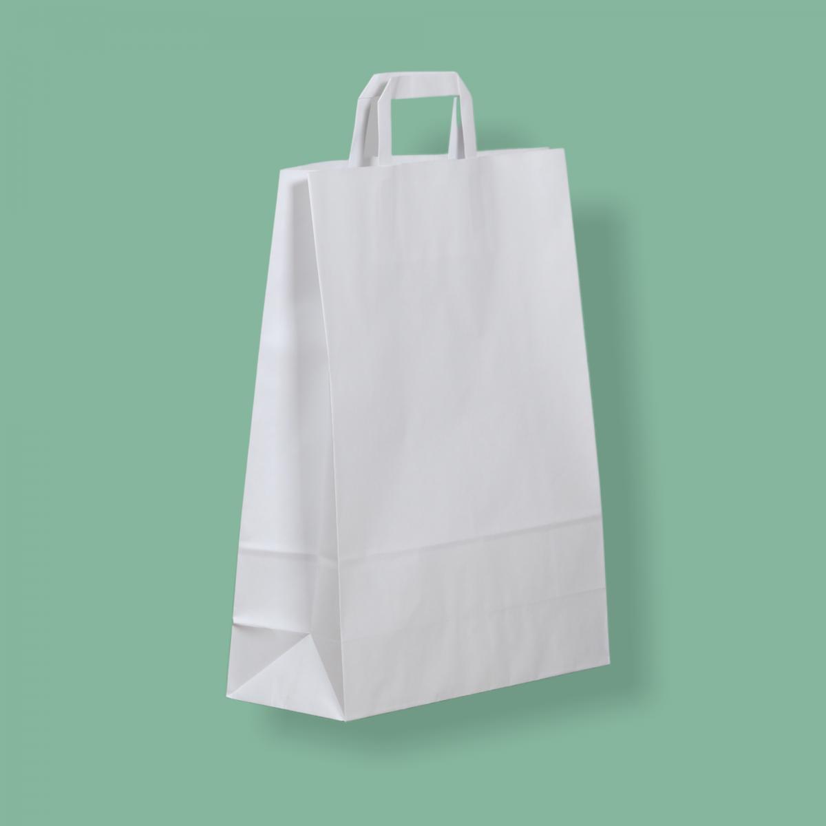 Szalagfüles papírtáska 32x41+12 cm fehér