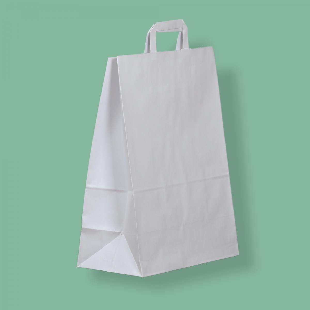 Szalagfüles papírtáska 32x43+17 cm fehér