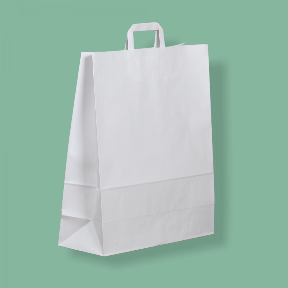Szalagfüles papírtáska 40x45+16 cm fehér